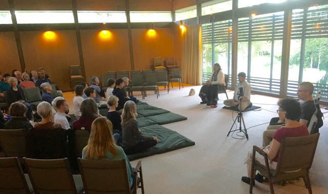 Guiding teachers Tuere Sala and Tim Geil together led the sangha on the first evening at the new practice Center