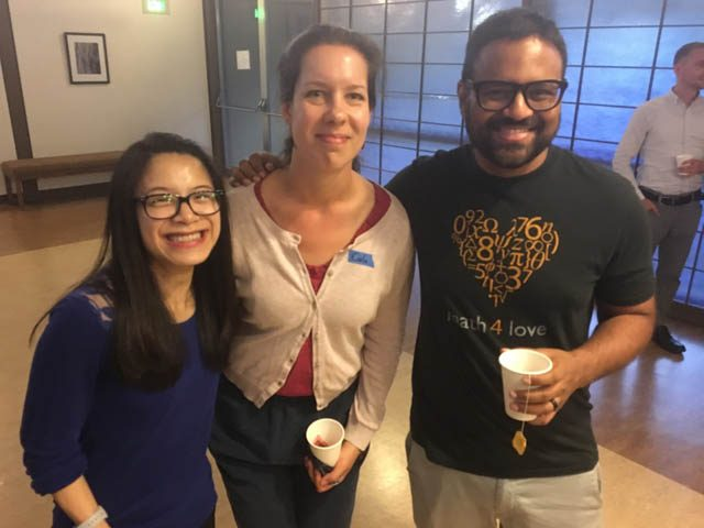 From left, Valerie Tran, Carla Penderock and Kalid Azad enjoy refreshments at the end of the first evening