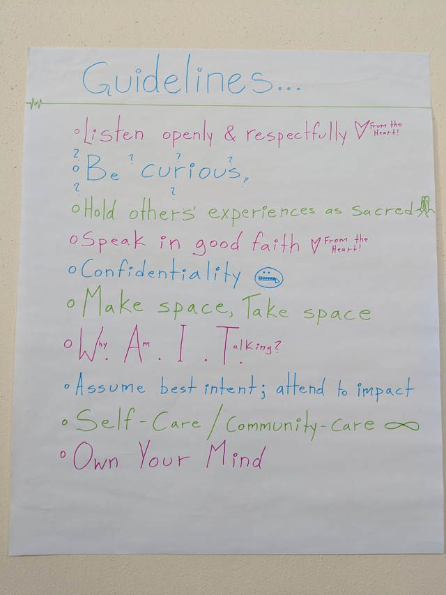 A guidelines poster on the wall at Portland Shambhala