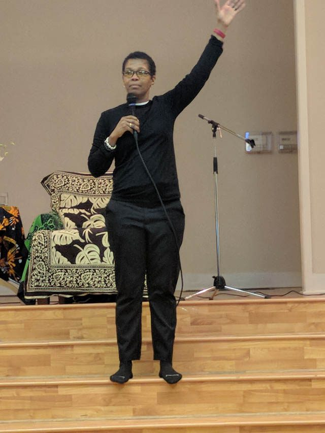 Rev. angel Kyodo williams, teaching in the Seattle area in 2018