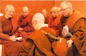 Ayya Medhanandi and the bhikkhunis of Sati Saraniya Hermitage in Canada