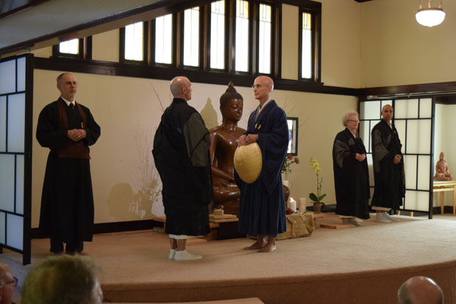 Rinzan Pechovnik Osho engages in Dharma combat to test his Zen knowledge. From left, Scott Ishin Stolnack, Rev. Gendo Testa, Rinzan Pechovnik Osho, Rev. Sendo Howells and Rev. Seifu Singh-Morales