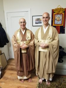 Genjo Marinello Roshi and Rinzan Pechovnik Osho after completion of the Dharma heir ceremony
