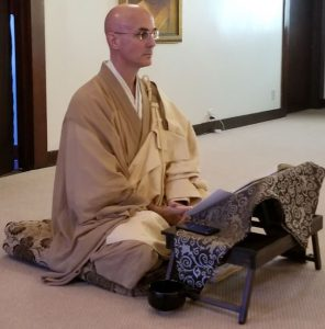 Rinzan Pechovnik Osho sits in preparation for teisho, a formal Dharma talk