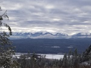 The Purcell Mountains. across the Columbia River valley from the Mahasiddha center.