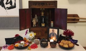 Memorial altar for Pellett at One Pine Hall, the Seattle meditation group he founded in 1994