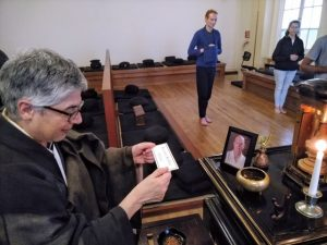 Shosan Victoria Austin leads a memorial service for Pellett at San Francisco Zen Center