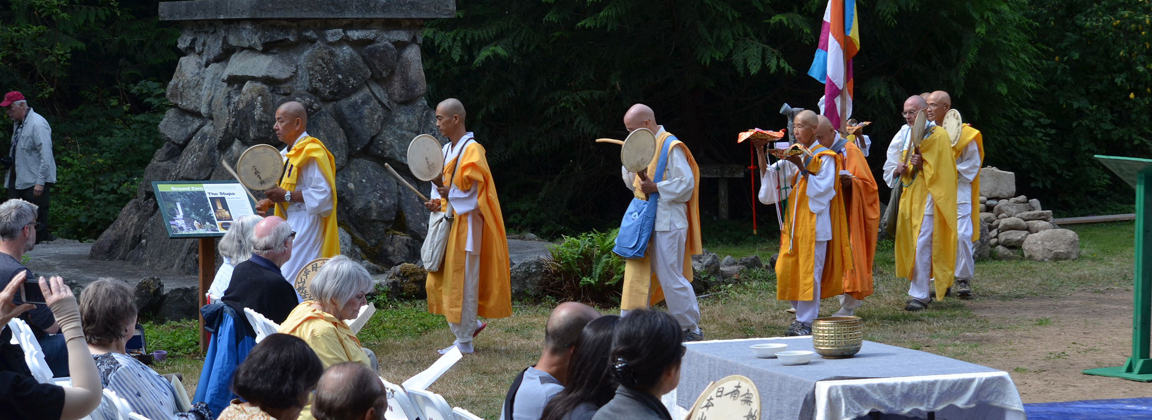 Rev. Senji Kanaeda leads on procession Nipponzan Myohoji peace monks, after a ceremony purifying ground for the planned Pacific Northwest Peace Pagoda. The pagoda will rise next to the Bangor Trident submarine missile base in Washington state, the largest concentration of deployed nuclear weapons in the United States