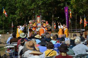 Nipponzan Myohoji monks and nuns make an offering