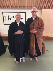 Chikyo Ryunin Ewan Magie, with retiring Seattle teacher Eko Jeff Kelley