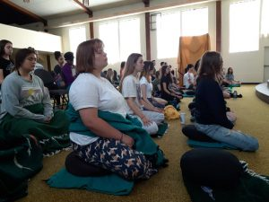 Group meditation led by amazing staff members