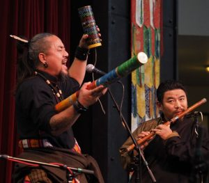 Artist Tamdin Tsetan performing and Lobsang Gyaltsen on the flute