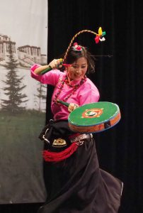 Tenzin Chodon performing Raylpa, an acrobatic Tibetan drum dance