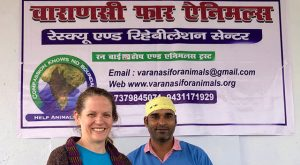 Raynor brought Assi to Dr. Deepak Singh at Varanasi for Animals Clinic, and was thrilled with his kindness and help.