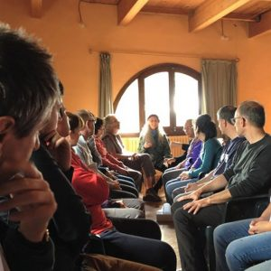 Michelle Levey teaching compassion meditation with our Catalan sangha at La Bartra retreat center in Spain