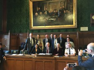 The Leveys speaking at the All-Parliamentary Roundtable at the British Parliament, for a special session on the role of mindfulness for first responders and the military