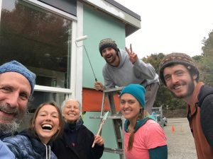 HumanKind All My Relations Sangha friends at volunteer work party at Camp Second Chance Small House Village in West Seattle
