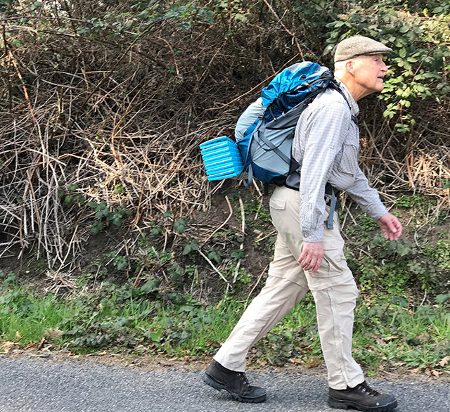 Len Bordeaux walked for many weeks around his neighborhood, with a loaded pack, to build strength for the pilgrimage
