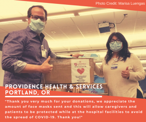 More Personal Protective Equipment was shipped to Providence Health Services in Portland, Oregon.