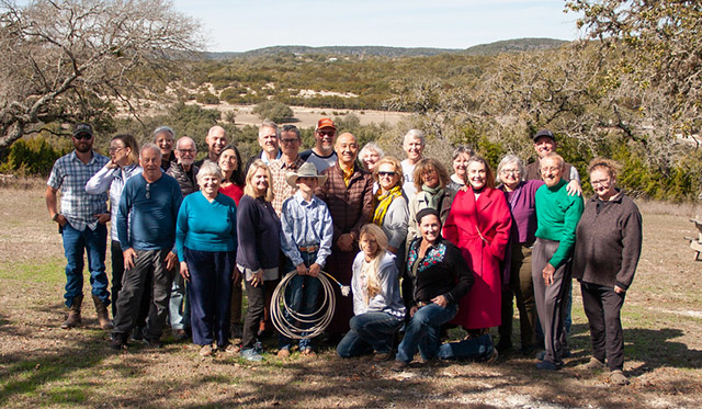 Participants of the first-ever Contemplative Resource Center Retreat in January 2020, with teachers Mitra Dean Mark Power and Acharya Lhakpa