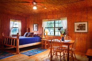 Guest cabins provide a comfortably rustic environment for entering the Texas Hill Country mindset