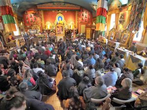 Tibetan community members gathered at Sakya Monastery on the first day of Losar, the Tibetan New Year
