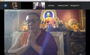 Khenpo Jampa Rinpoche of Sakya Monastery praying, in a screenshot of the monthly Tibetan community prayer session, now on Zoom